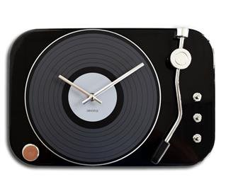 Wall clock record player black